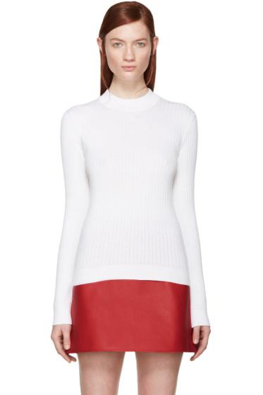 Courrèges - White Rib Knit Mock Neck Sweater