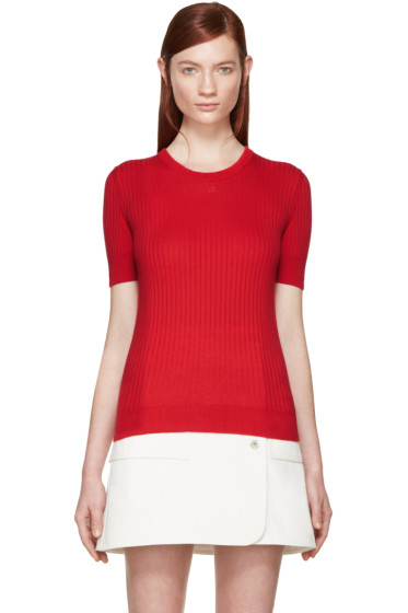 Courrèges - Red Rib Knit Sweater