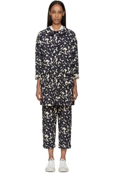Sara Lanzi - Navy & Off-White Textured Jacquard Coat
