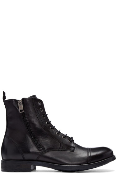 Diesel - Black Leather D-Kallien Boots