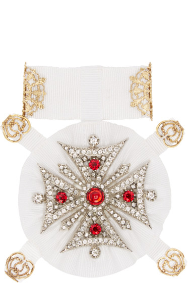 Dolce & Gabbana - White Cross Brooch