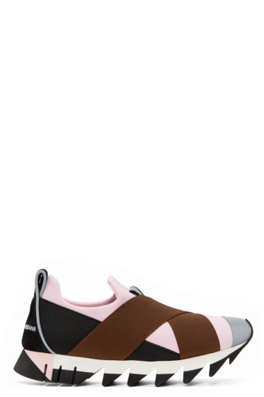 Dolce & Gabbana - Black & Pink Straps Slip-On Sneakers