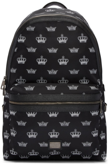 Dolce & Gabbana - Black Crown Print Backpack
