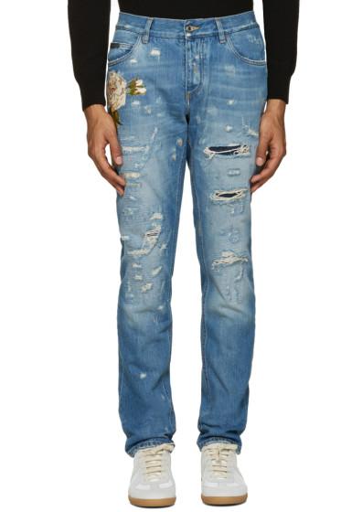 Dolce & Gabbana - Blue Distressed Floral Jeans
