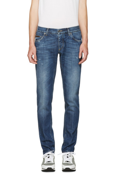 Dolce & Gabbana - Blue Embroidered Crest Jeans
