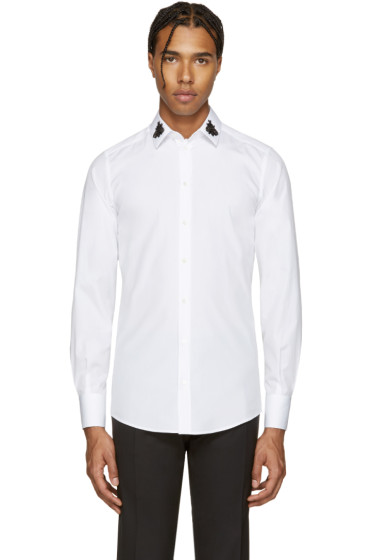 Dolce & Gabbana - White Embellished Bees Shirt