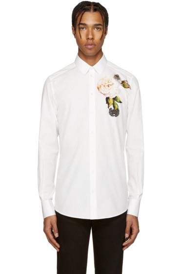 Dolce & Gabbana - White Embellished Flower Shirt
