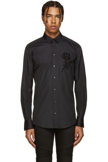 Dolce & Gabbana - Black Beaded Rose Shirt