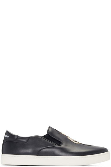 Dolce & Gabbana - Navy Sicilian Slip-On Sneakers
