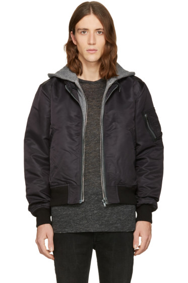 R13 - Black Layered Flight Jacket