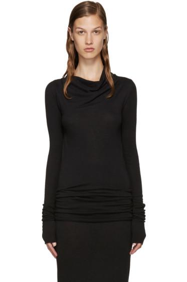 Rick Owens Lilies - Black Wool Cowl Neck T-Shirt