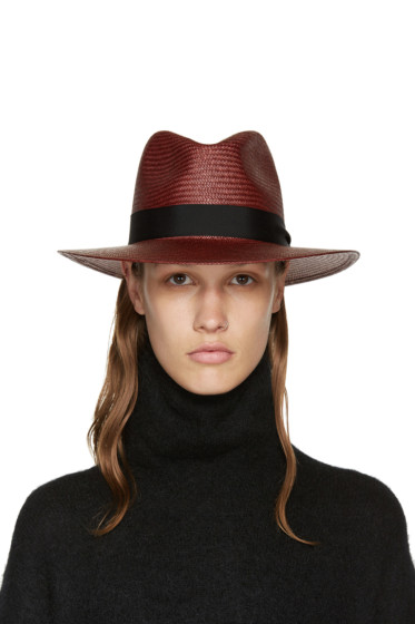 Rag & Bone - Burgundy Straw Panama Hat