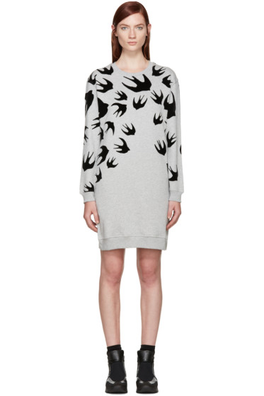 McQ Alexander Mcqueen - Grey Swallows Pullover Dress