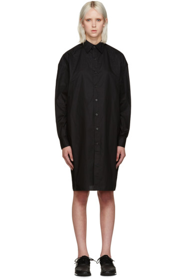 Y-3 - Black Poplin Shirt Dress