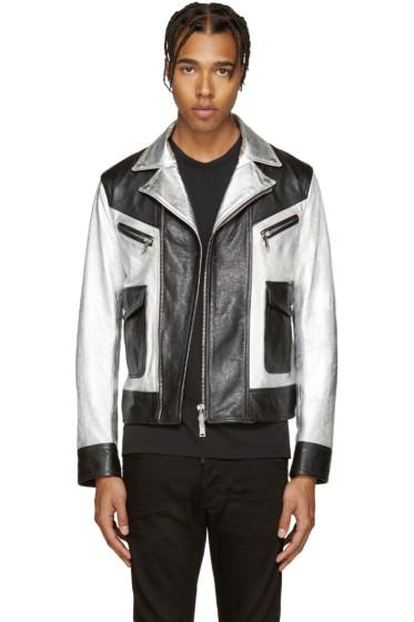 Dsquared2 - Black & Silver Leather Kiodo Biker Jacket