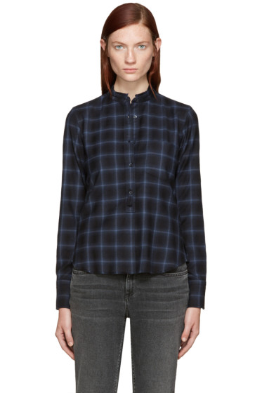Helmut Lang - Navy Shrunken Plaid Shirt