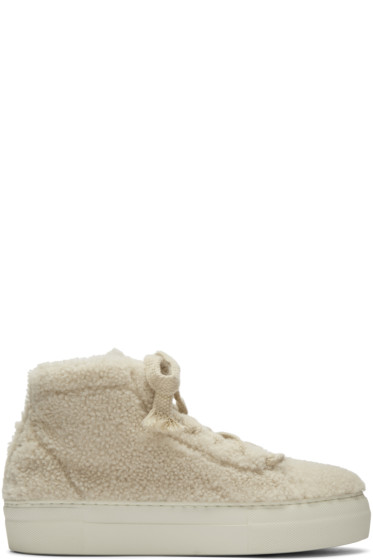 Helmut Lang - Off-White Shearling Stitched High-Top Sneakers