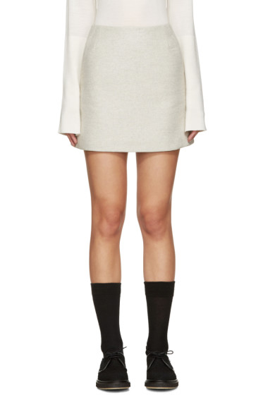 YMC - Grey Wool Neoprene Miniskirt
