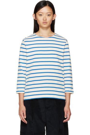 YMC - Ecru & Blue Breton Stripe T-Shirt