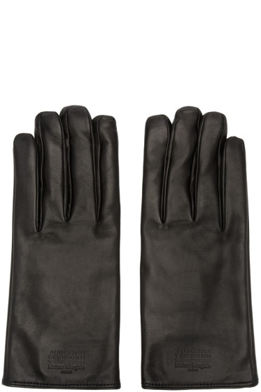 Maison Margiela - Black Leather Logo Gloves