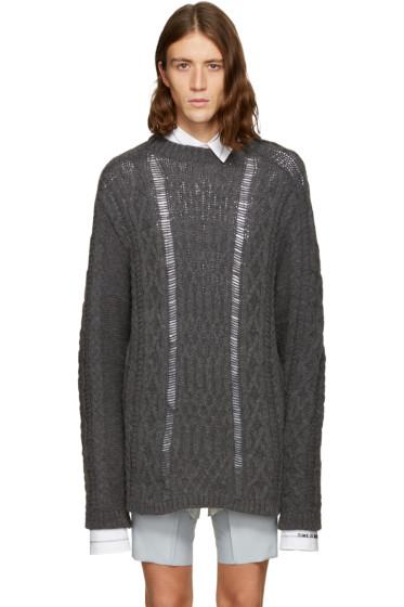 Maison Margiela - Grey Oversized Cable Knit Sweater