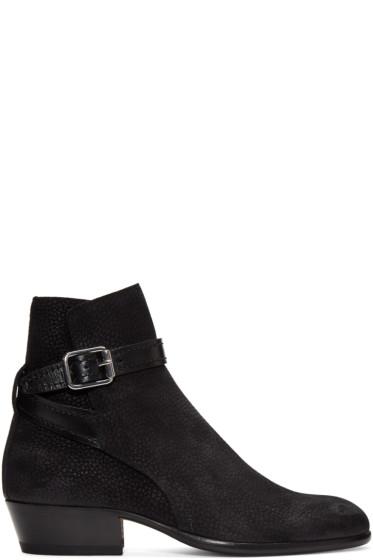 Maison Margiela - Black Suede Buckle Boots