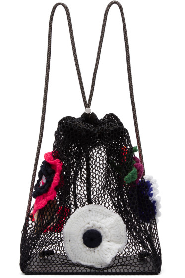 Christopher Kane - Black Crocheted Flower Backpack