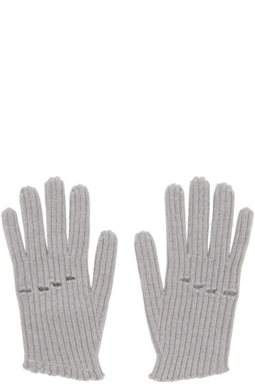 MM6 Maison Margiela - Grey Wool Rib Knit Gloves