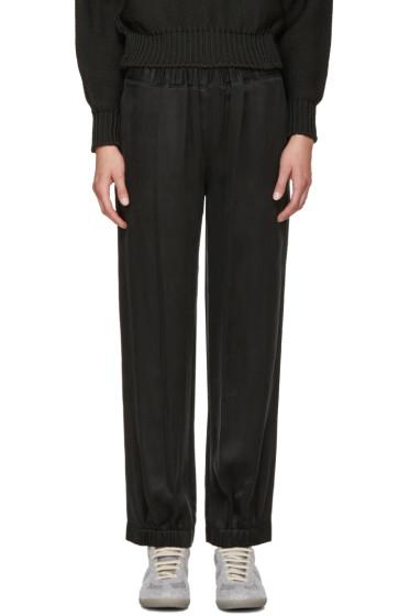 MM6 Maison Margiela - Black Washed Satin Lounge Pants