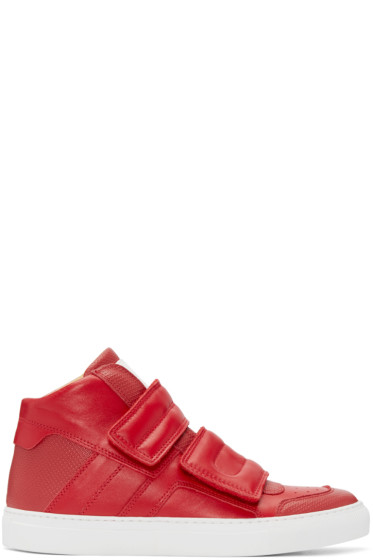 MM6 Maison Margiela - Red Leather High-Top Sneakers