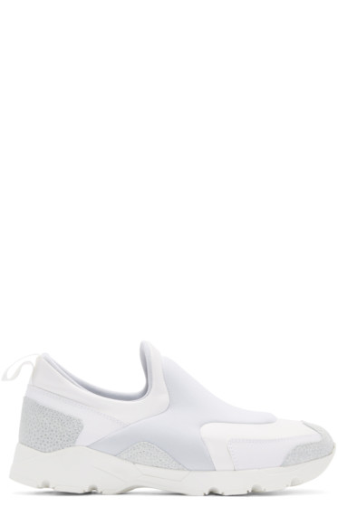 MM6 Maison Margiela - White Neoprene Slip-On Sneakers