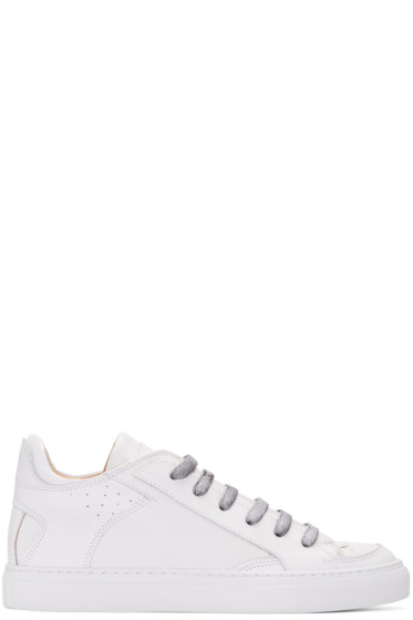 MM6 Maison Margiela - White Nappa Calfskin Sneakers