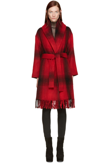 T by Alexander Wang - Red Oversized Shawl Coat