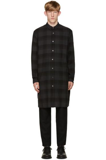 Robert Geller - Grey Long Plaid Shirt