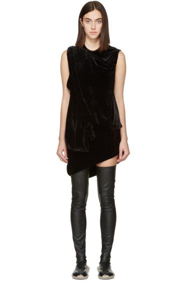 Rick Owens - Black Velvet Draped Dress