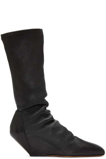 Rick Owens - Black Mid-Calf Wedge Boots