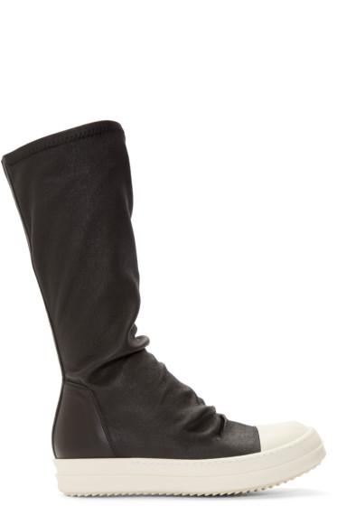 Rick Owens - Black Leather Mid Sock Sneakers