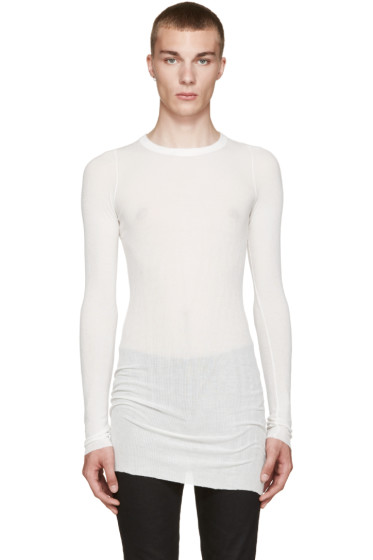 Rick Owens - White Ribbed T-Shirt