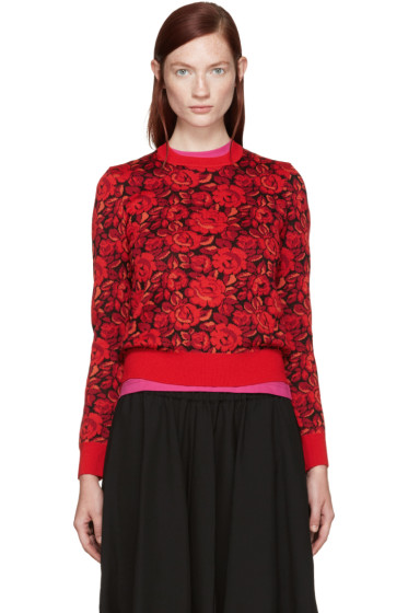 Comme des Garçons - Red Wool Floral Sweater