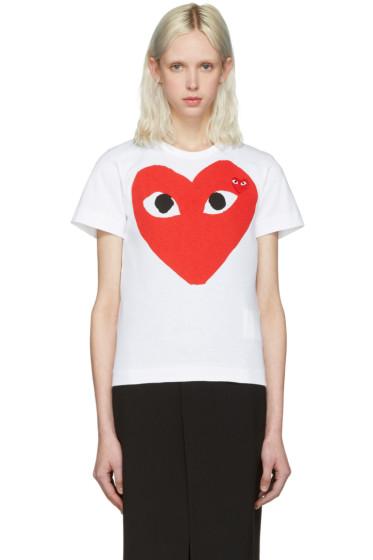 Comme des Garçons Play - White Double Heart T-Shirt