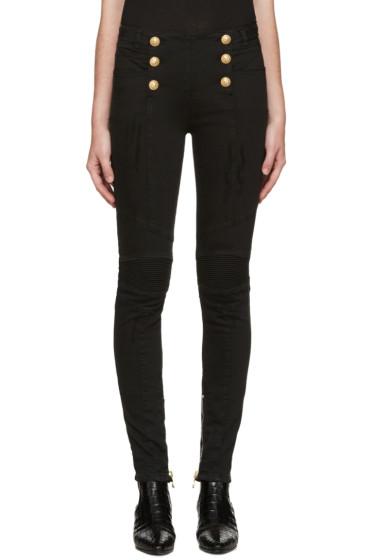 Balmain - Black Buttoned Biker Jeans