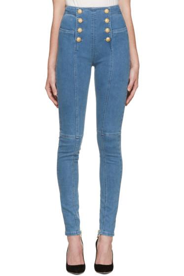 Balmain - Blue Buttoned Jeans