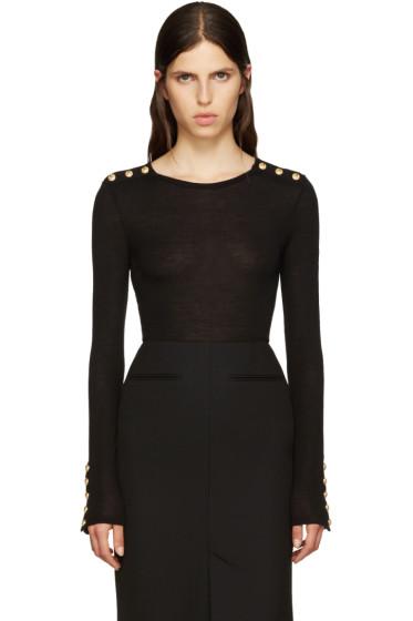 Balmain - Black Wool T-Shirt
