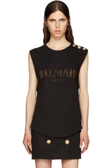 Balmain - Black Crystal Logo T-Shirt