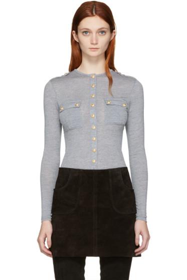 Balmain - Grey Wool Henley