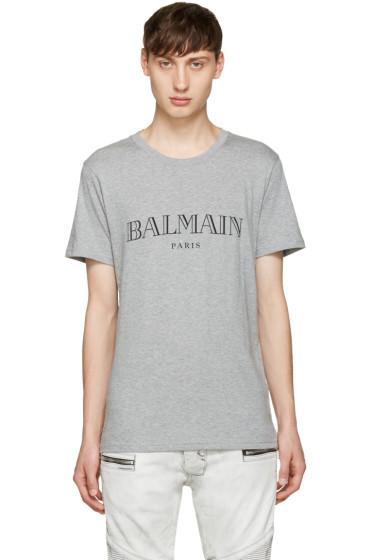 Balmain - Grey Logo T-Shirt