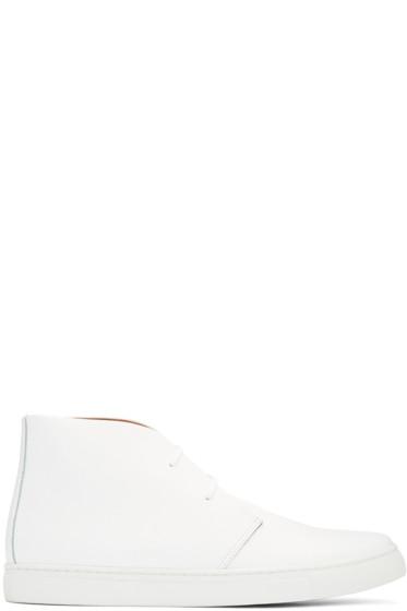 Junya Watanabe - White Leather High-Top Sneakers