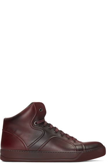 Lanvin - Red Leather Mid-Top Sneakers