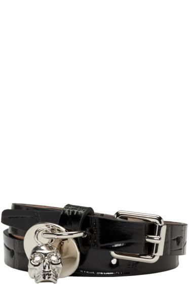 Alexander McQueen - Black Croc-Embossed Double Wrap Bracelet