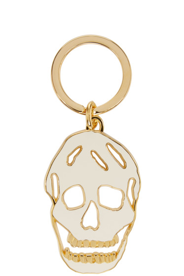 Alexander McQueen - White & Gold Cut-Out Skull Keychain